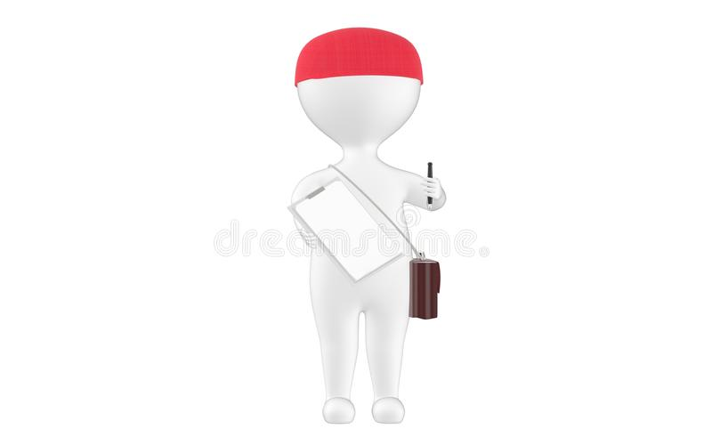3d character , man showing a pen and clipboard. 3d rendering royalty free illustration
