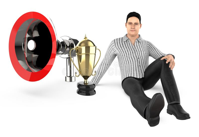 3d character , man sitting near to a loudspeaker and a golden trophy stock illustration