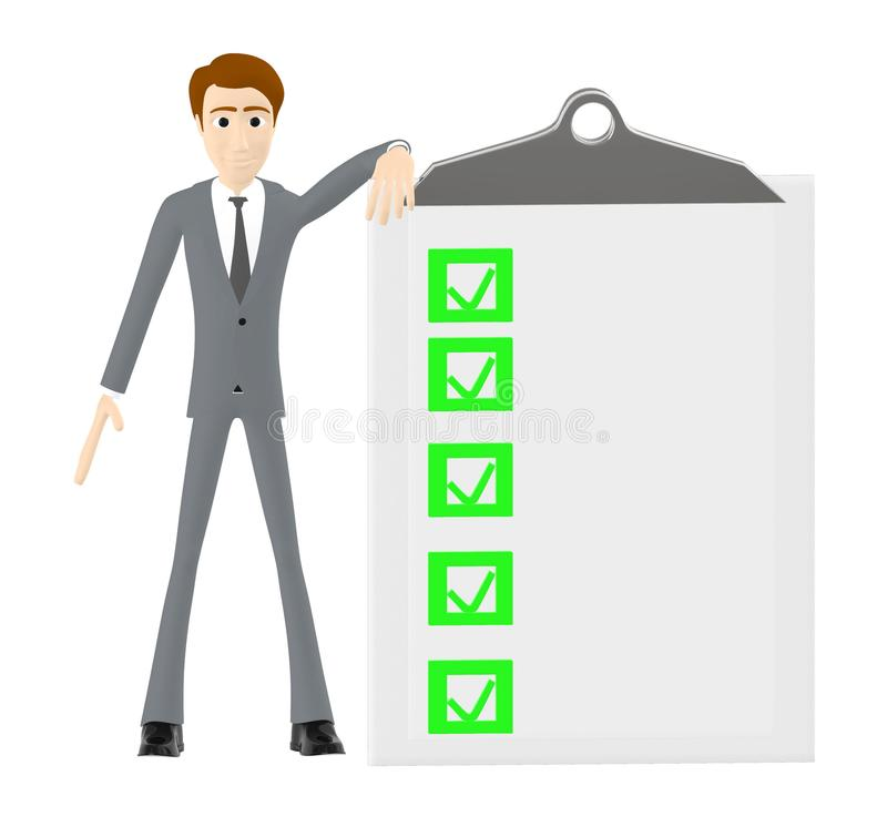 3d character , man standing near a clipboard with checkmark in it. 3d rendering royalty free illustration