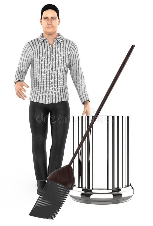 3d character , man standing near to a bin and a broom. 3d rendering stock illustration