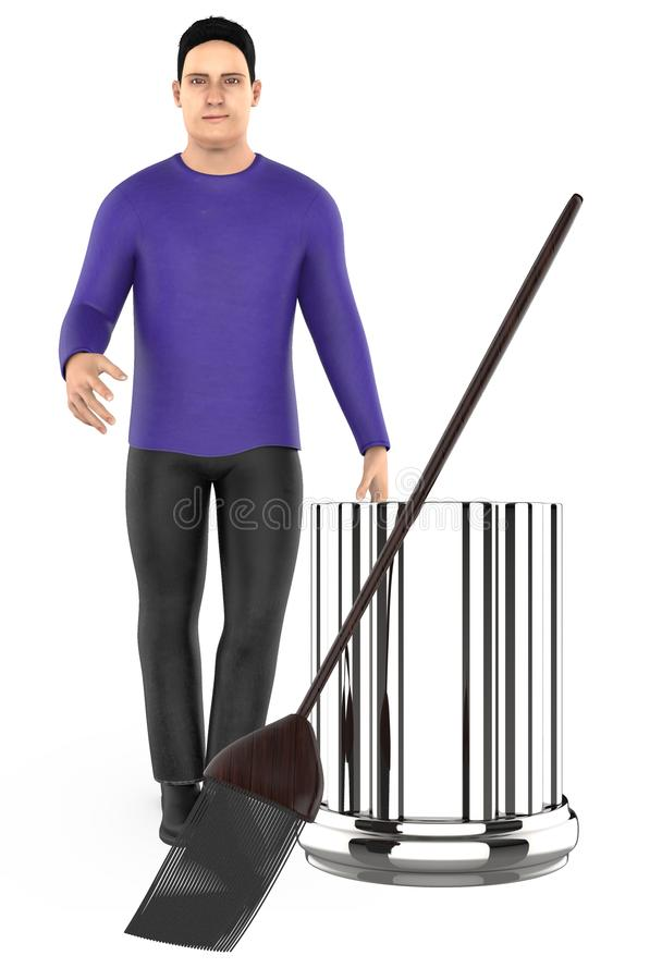 3d character , man standing near to a bin and a broom. 3d rendering royalty free illustration