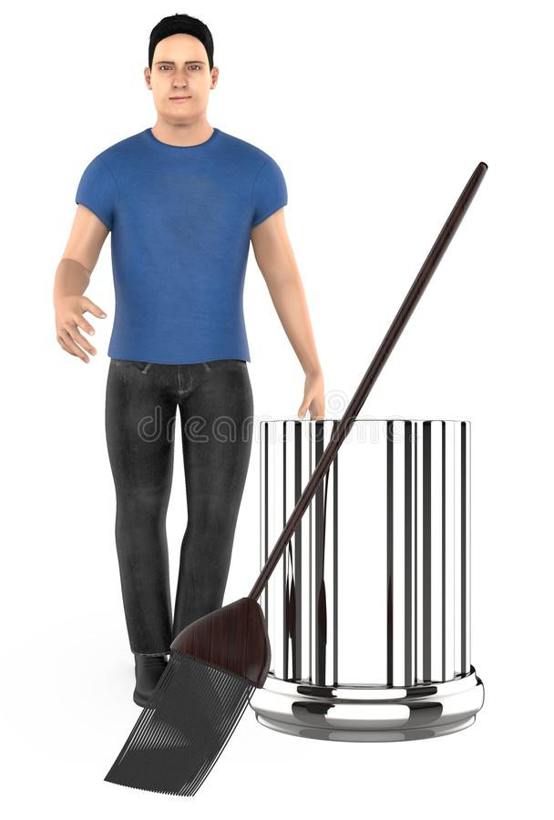3d character , man standing near to a bin and a broom. 3d rendering vector illustration
