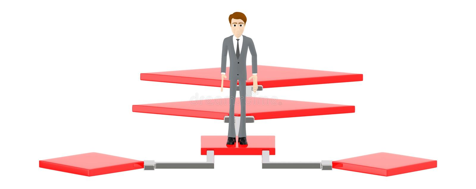 3d character , man standing over a flow chart vector illustration