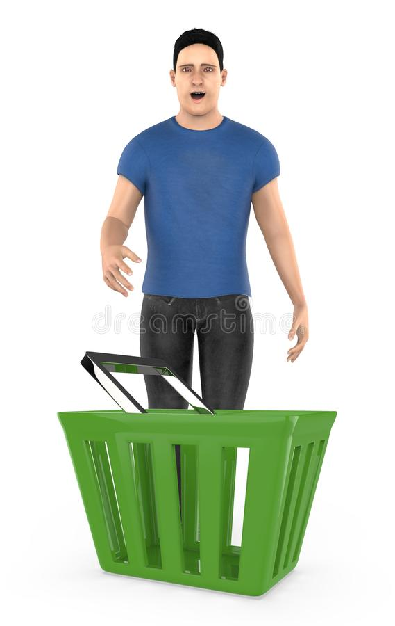 3d character , man standing surprised / excited near to a empty basket. Isolated in white background- 3d rendering stock illustration
