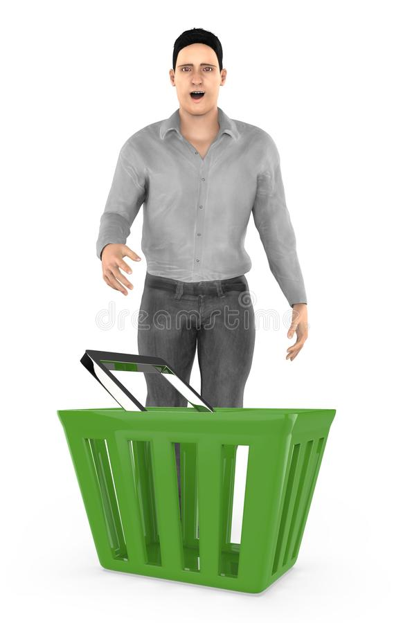 3d character , man standing surprised / excited near to a empty basket. Isolated in white background- 3d rendering vector illustration