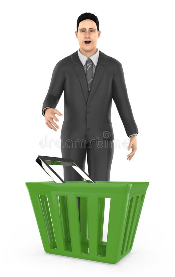 3d character , man standing surprised / excited near to a empty basket. Isolated in white background- 3d rendering royalty free illustration
