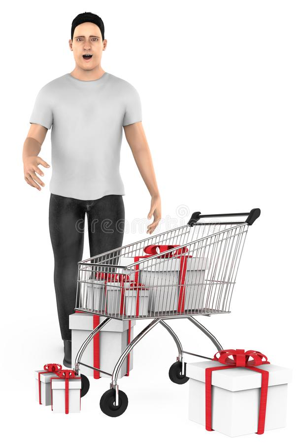3d character , man , surprised , cart and wrapped gift boxes. 3d rendering vector illustration