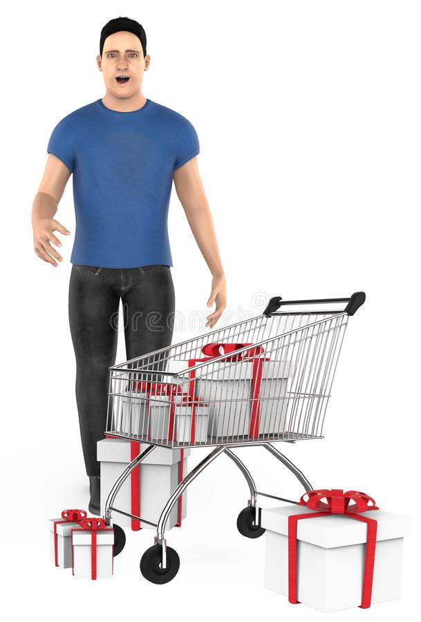 3d character , man , surprised , cart and wrapped gift boxes. 3d rendering stock illustration