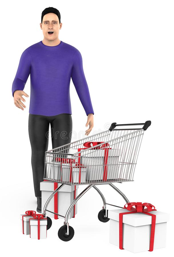 3d character , man , surprised , cart and wrapped gift boxes. 3d rendering royalty free illustration