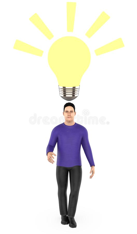 3d character , man surprised , illuminated bulb near to his head. 3d rendering royalty free illustration