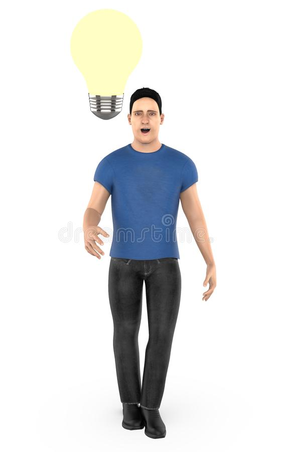 3d character , man surprised , illuminated bulb near to his head. 3d rendering vector illustration