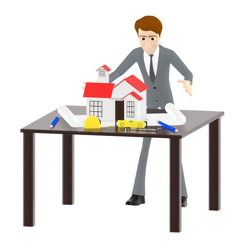 3d character , man table , miniature house- plan - divider -measuring tape. 3d rendering stock illustration