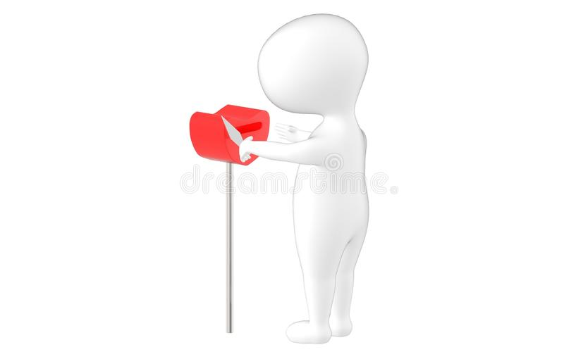 3d character , man taking out envelope from a letterbox vector illustration