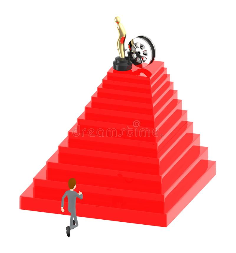 3d character , man walking up top towards a film trophy and film reel. 3d rendering royalty free illustration