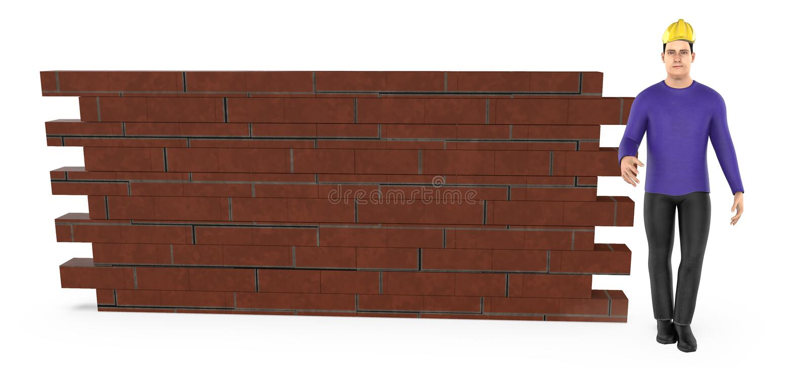 3d character , man wearing hard helmet and standing near a brick wall vector illustration
