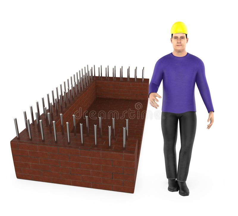 3d character , man wearing safety hat and standing near a construction site stock illustration