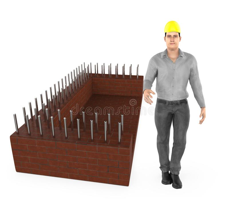 3d character , man wearing safety hat and standing near a construction site royalty free illustration