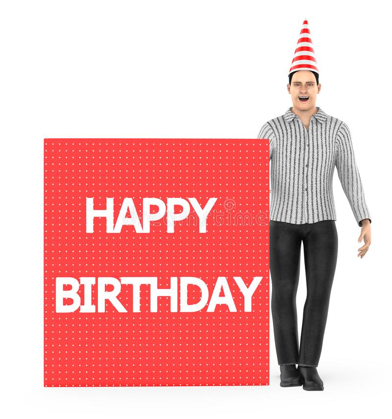 3d character , man wearing a white and red line stripped cone cap and a banner with happy birthday text in it - isolated in white. Background- 3d rendering royalty free illustration