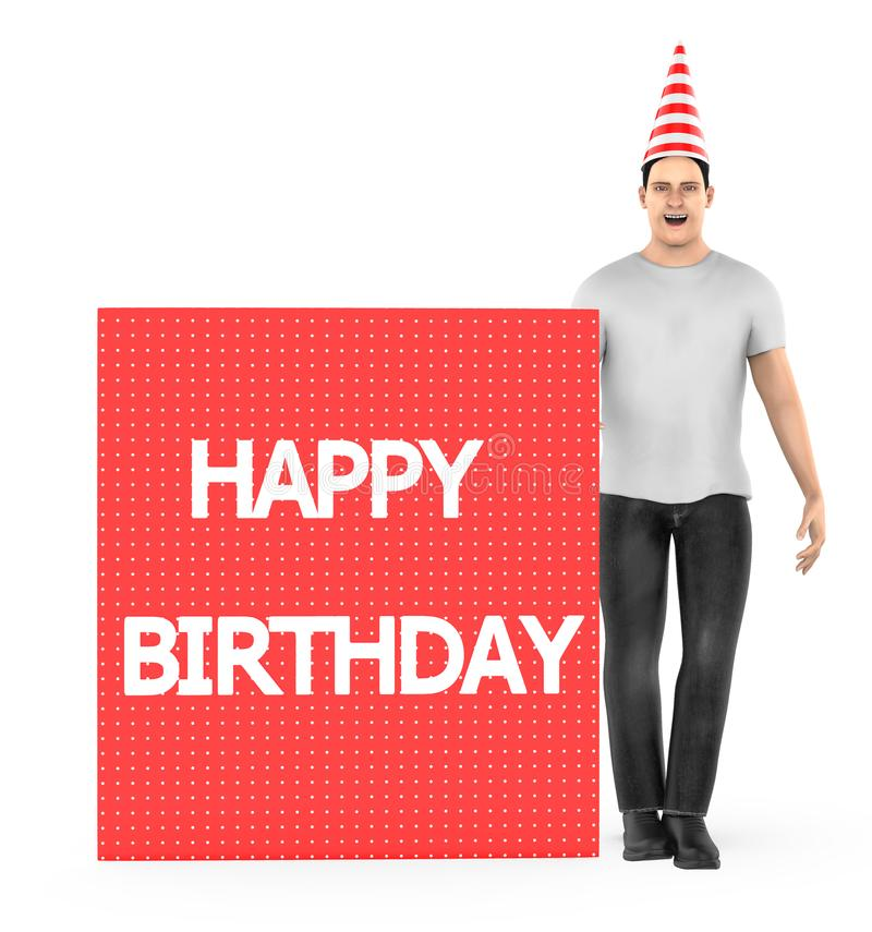 3d character , man wearing a white and red line stripped cone cap and a banner with happy birthday text in it - isolated in white. Background- 3d rendering vector illustration