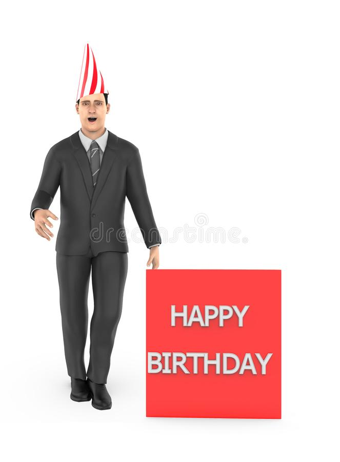 3d character , man wearing a white and red line stripped cone cap and standing near to a banner with happy birthday text in it vector illustration