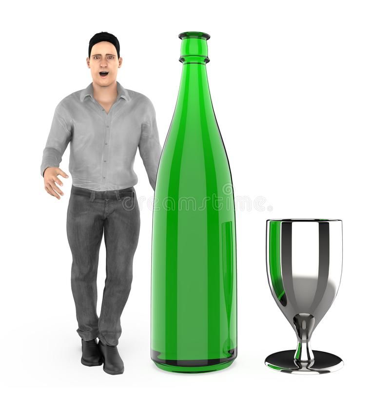 3d character , man with a wine bottle and a glass. 3d rendering vector illustration