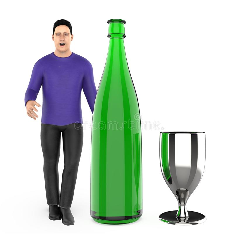 3d character , man with a wine bottle and a glass. 3d rendering royalty free illustration