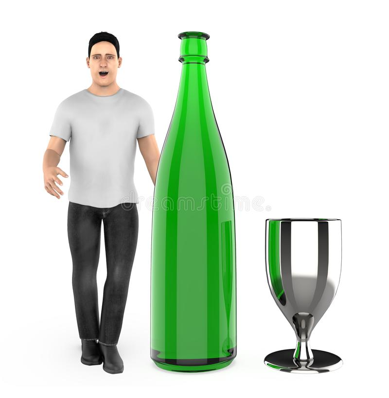 3d character , man with a wine bottle and a glass vector illustration