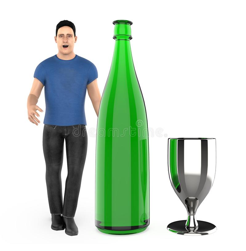 3d character , man with a wine bottle and a glass. 3d rendering stock illustration