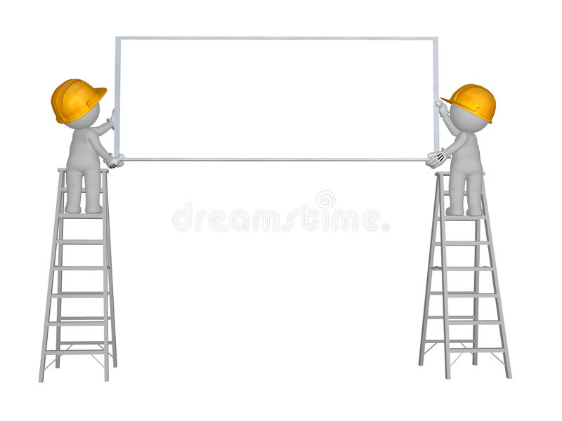3d character 2 men up ladder with blank sign wearing yellow safety helmet stock illustration