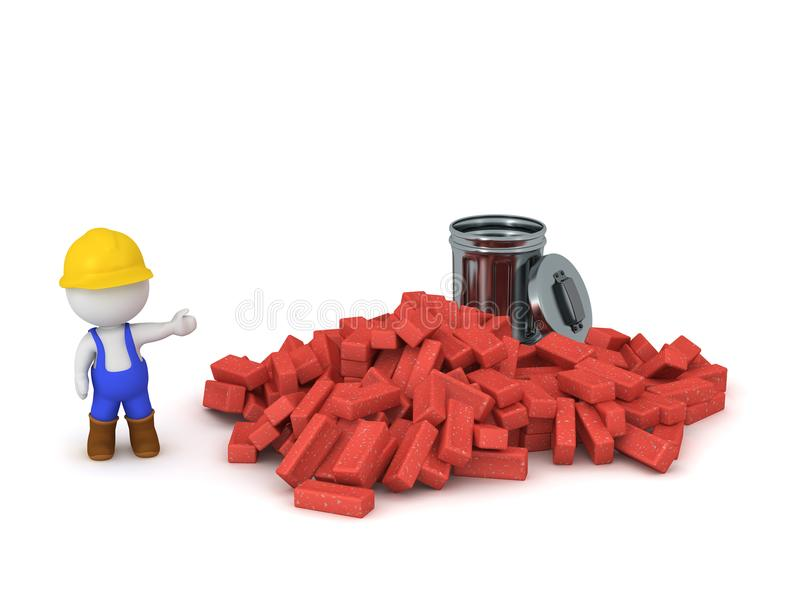 3D Character With Pile Of Bricks And Trash Can Stock Illustration ...
