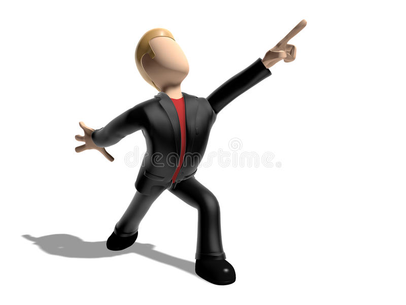 3D character pointing to the sky. 3D character a white background. Caucasian skin color. Neutral face without nose and mouth stock illustration