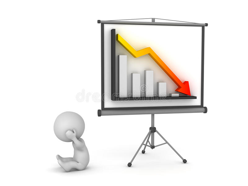 3D Character with Projector Screen Presenting Bad Chart. Upset 3D character and a projector screen showing a bad chart. Isolated on white background stock illustration