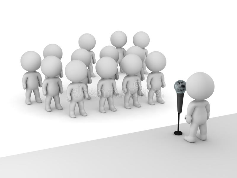 3D Character Public Speaker with Microphone in front of many other characters. 3D character public speaker with microphone standing on a stage in front of many stock illustration