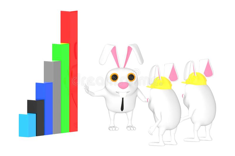 3d character , rabbit explaining with a graph to other rabbits. 3d rendering vector illustration