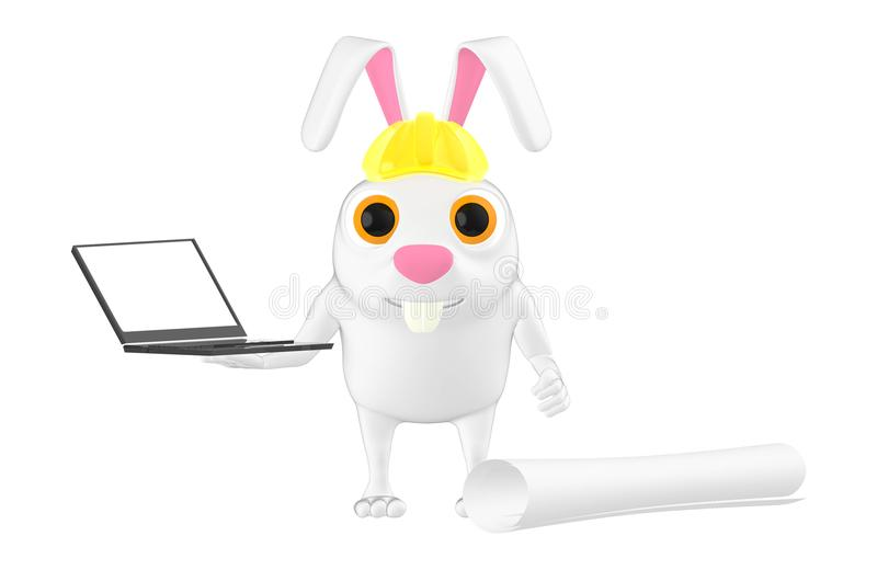 3d character , rabbit , hard helmet , laptop and civil drawing vector illustration