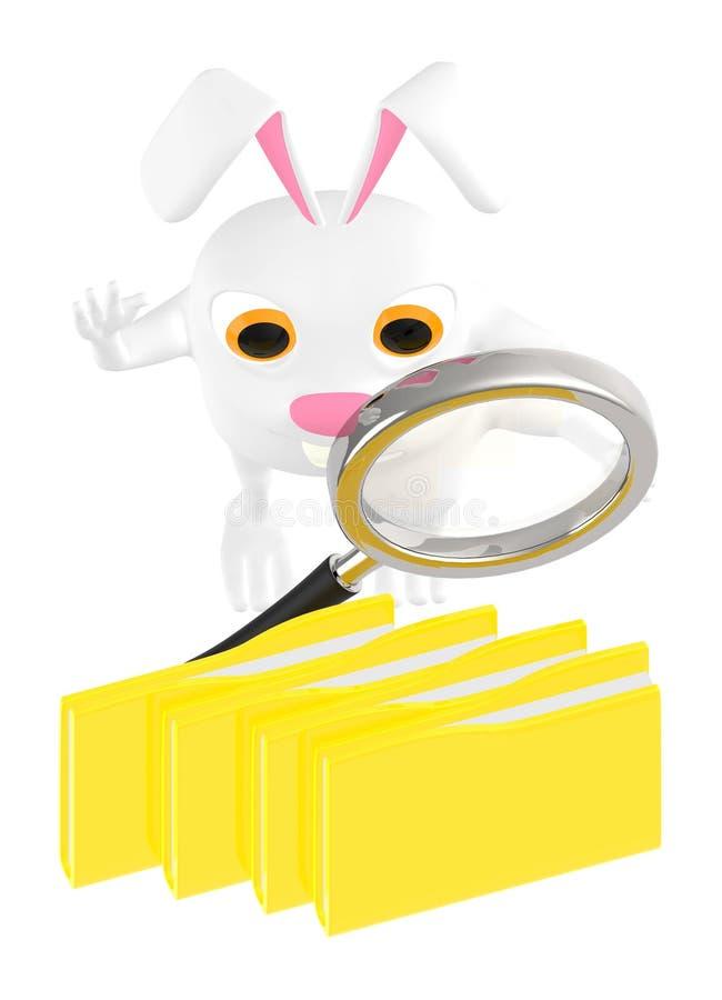3d character , rabbit holding a magnifier towards file folder stock illustration