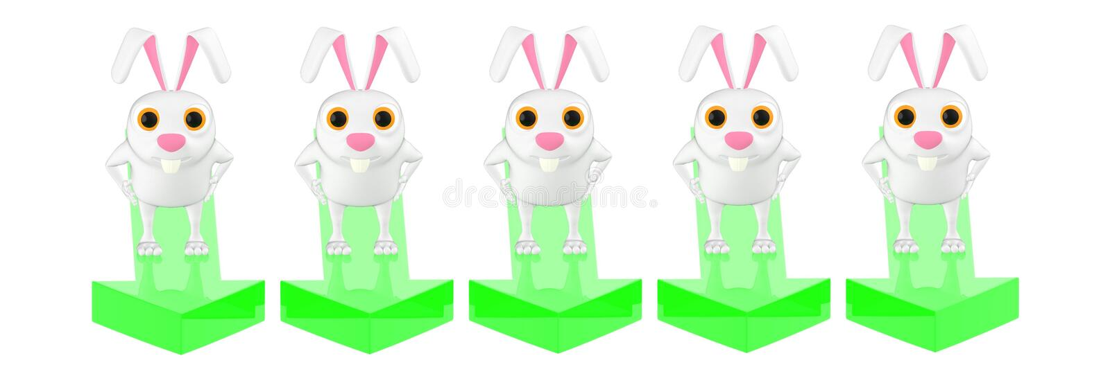 3d character , rabbit,s standing on a different arrow towards one direction stock illustration