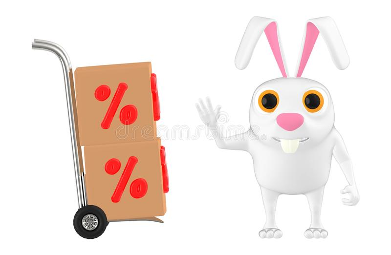 3d character , rabbit standing near to a trolley cart with percentage sign cardboard boxes in it royalty free illustration