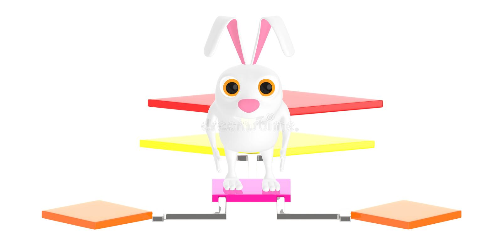 3d character , rabbit standing over a flow chart royalty free illustration