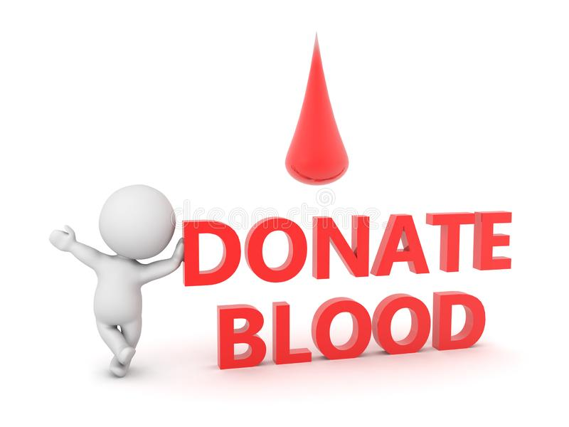 3D Character and red text saying donate blood with blood droplet above royalty free illustration