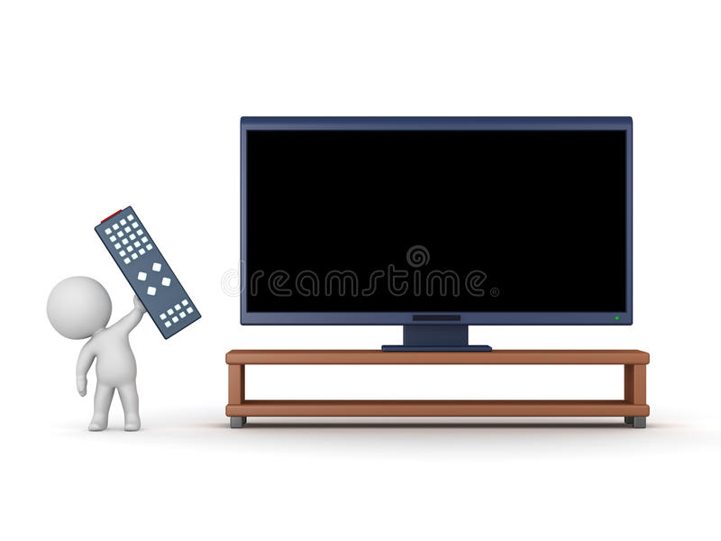 3D Character with Remote Control and HDTV. 3D character with a large remote control and an HDTV. on white background royalty free illustration