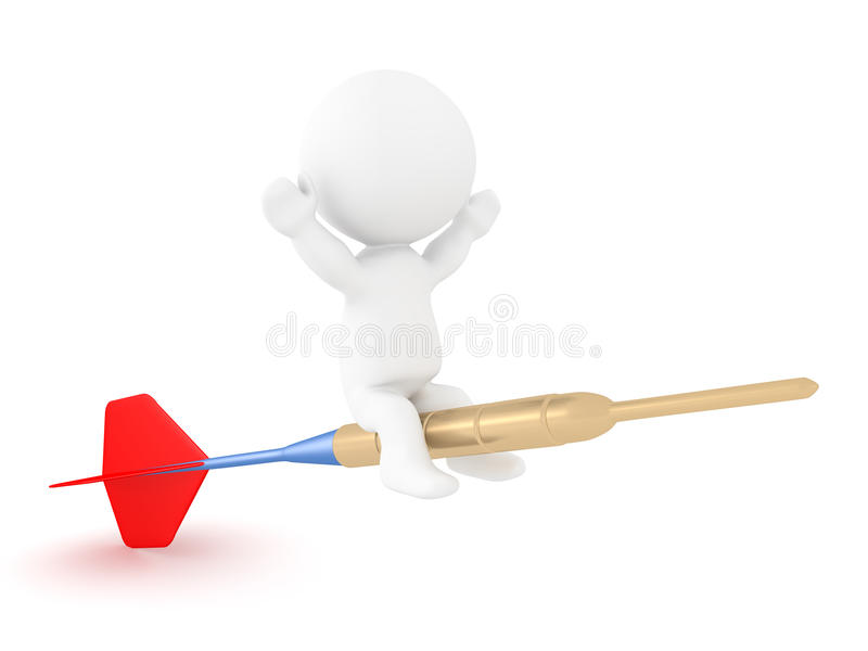 3D Character riding on flying dart stock illustration