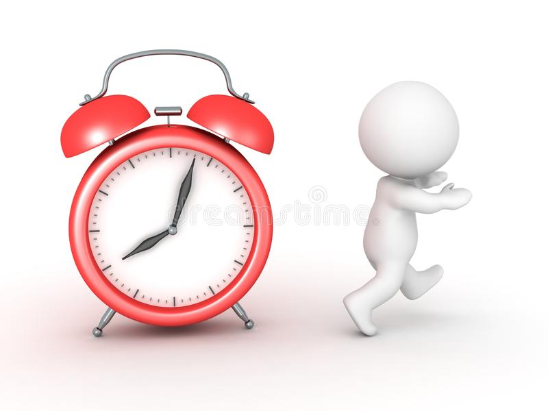 3D Character running away from alarm clock vector illustration