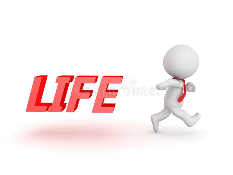 3D Character running away from his life vector illustration