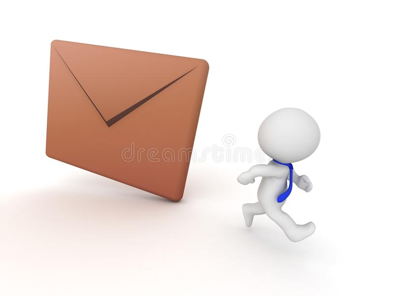 3D Character Running Away from Mail Envelope. A 3D character wearing a tie, running away from a large mail envelope. Isolated on white background vector illustration