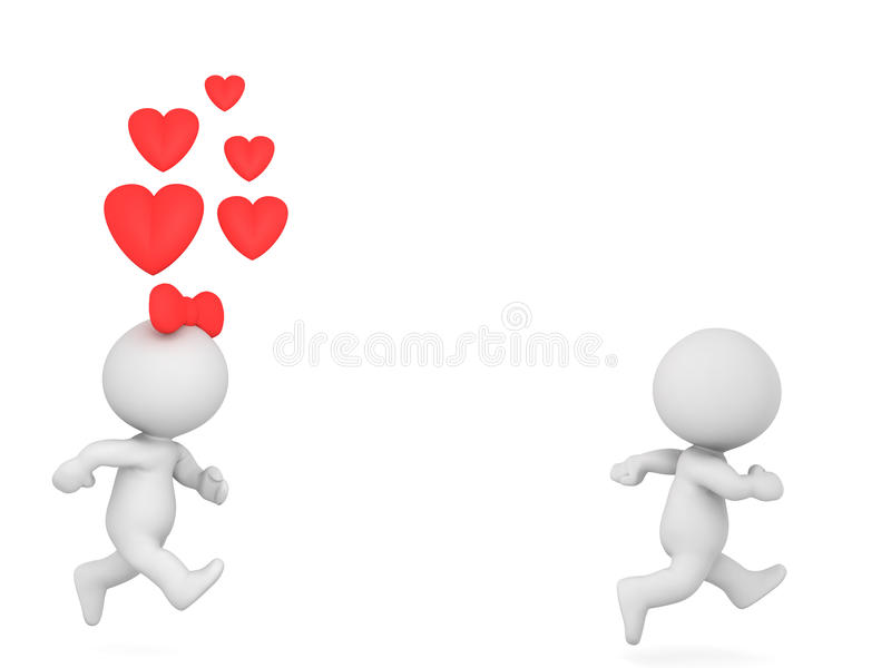 3D Character running away from woman who loves him royalty free illustration