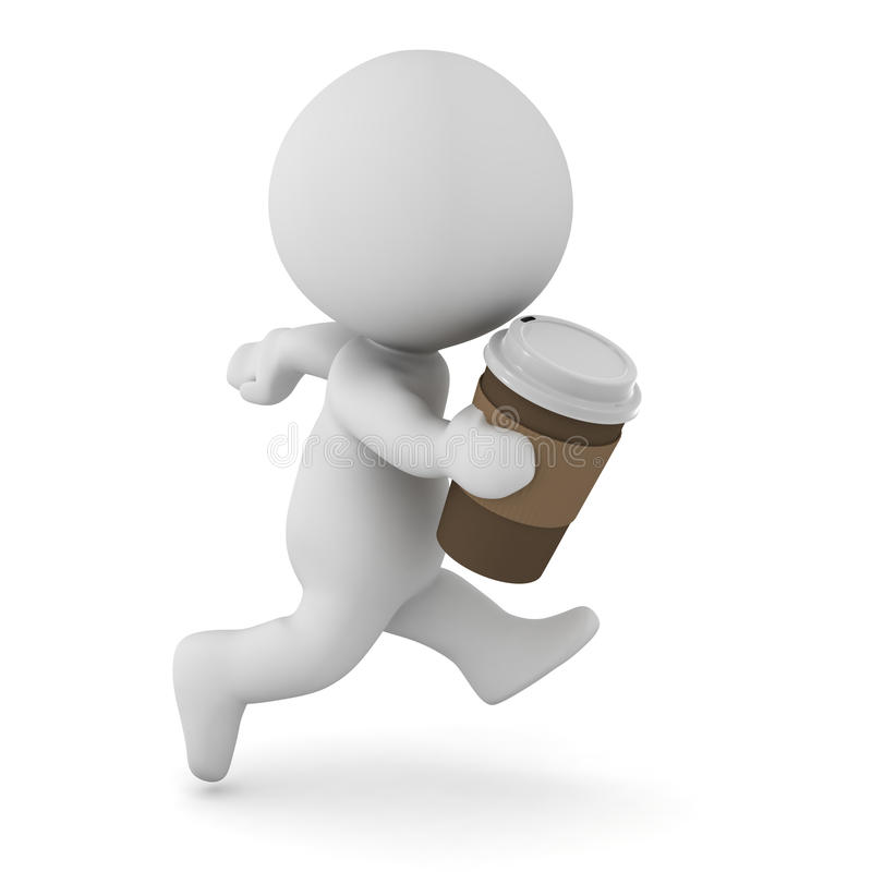 3D Character Running with Coffee Cup in His Hand vector illustration