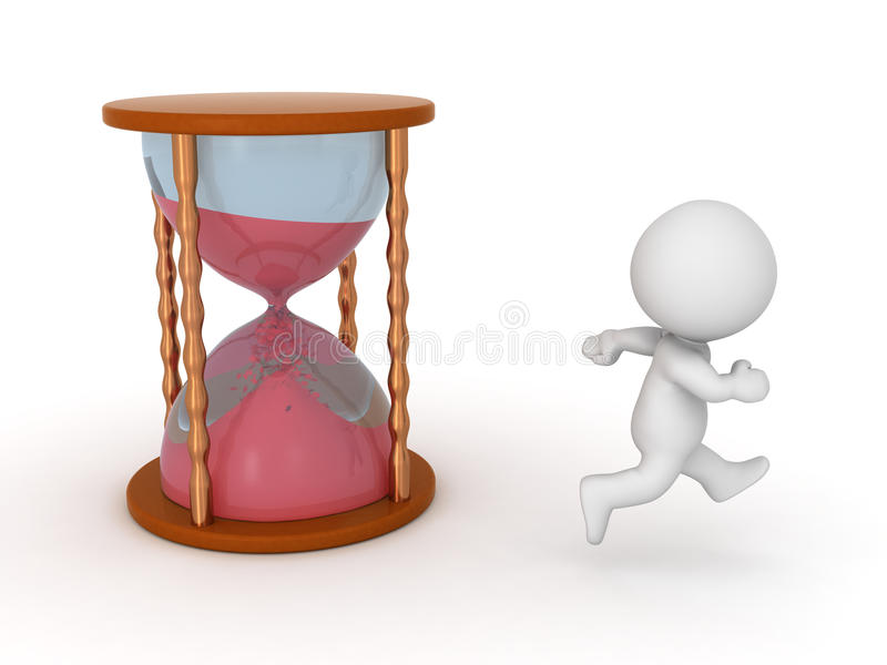 Download 3D Character Running From Hourglass - Time Passing Concept Stock Illustration - Illustration: 59989499