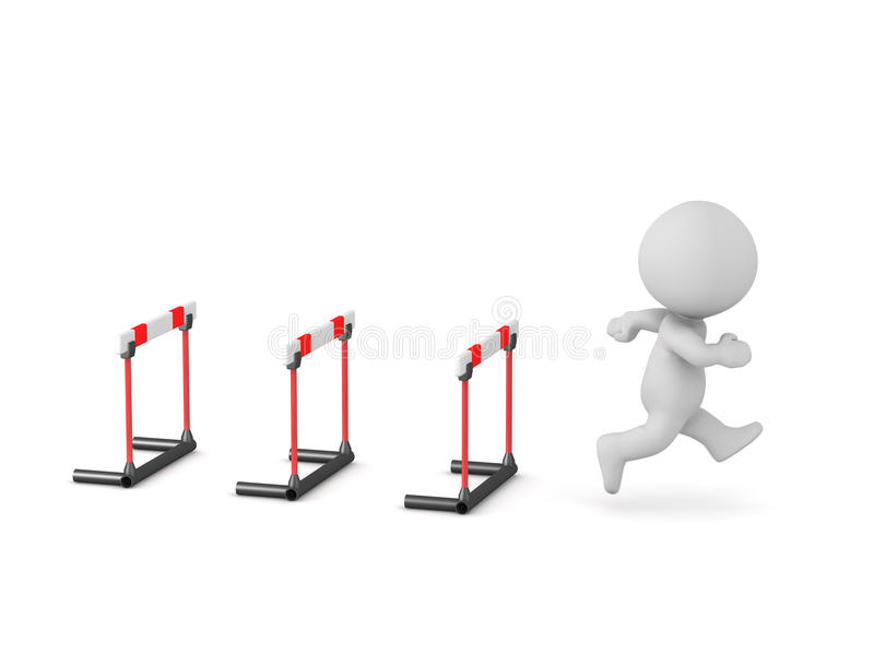 3D Character Running Past Hurdles royalty free illustration