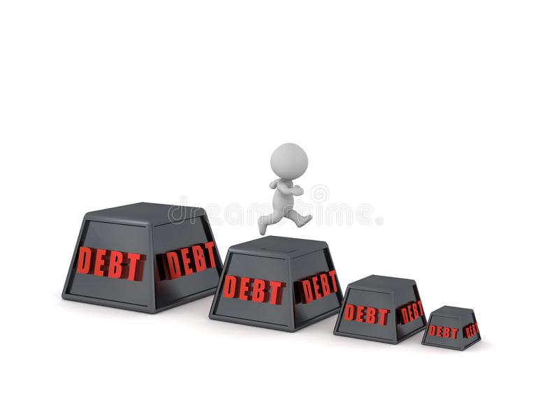 3D Character Running to Lower Debt royalty free illustration